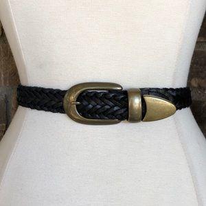 Vintage Belt Leather Black Braided XL